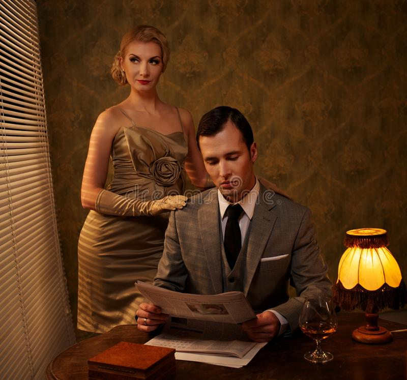 Rétro couples image libre de droits