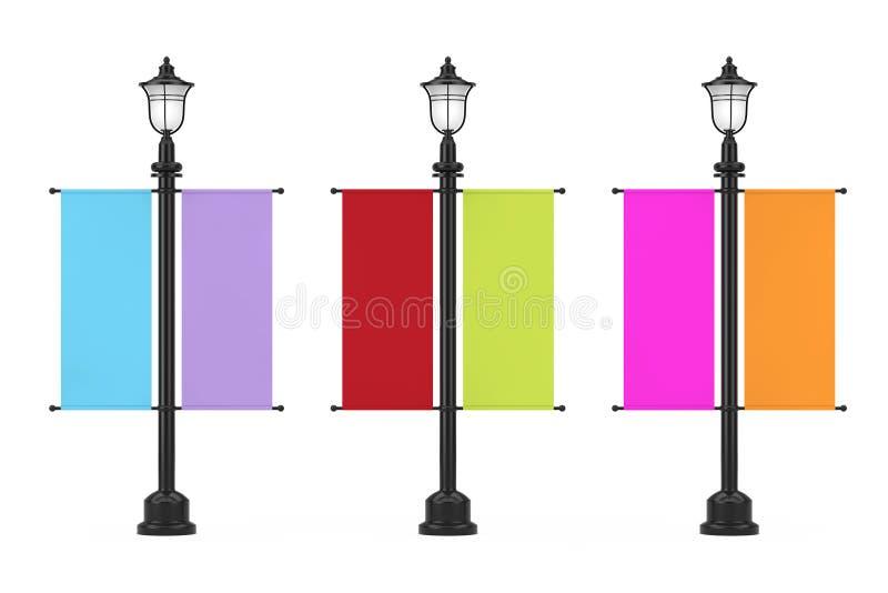 Rétro courrier de réverbère de cru avec le drapeau promotionnel de publicité multicolore de maquette rendu 3d illustration stock