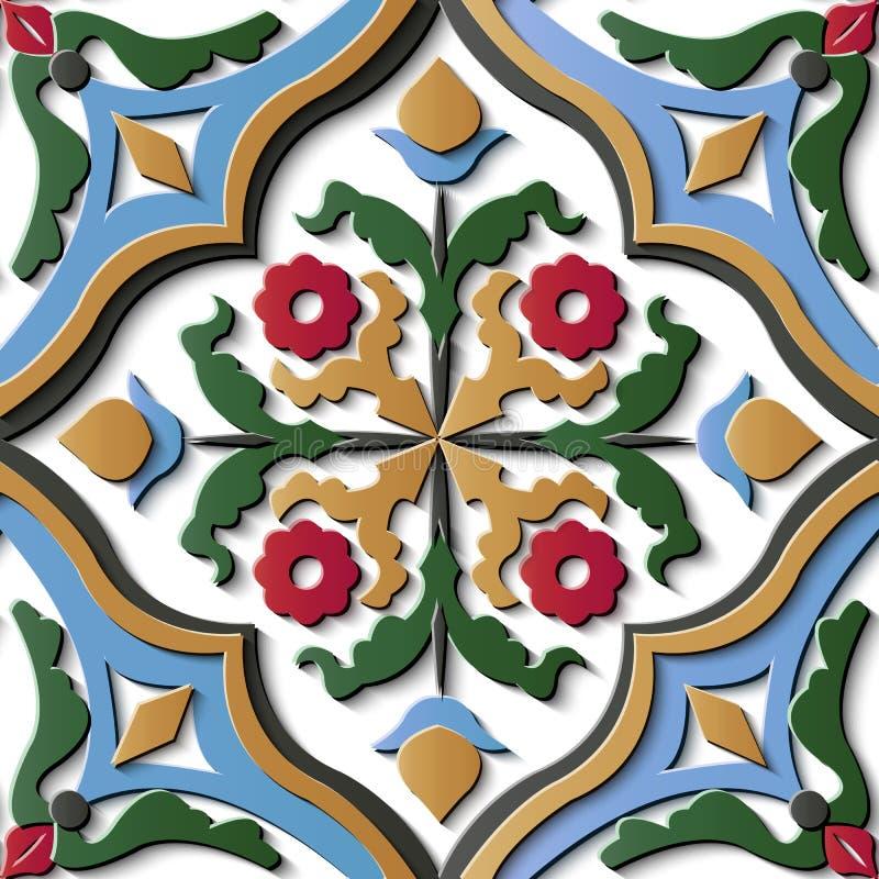 Rétro croix f de courbe de modèle en soulagement de décoration sans couture de sculpture illustration stock