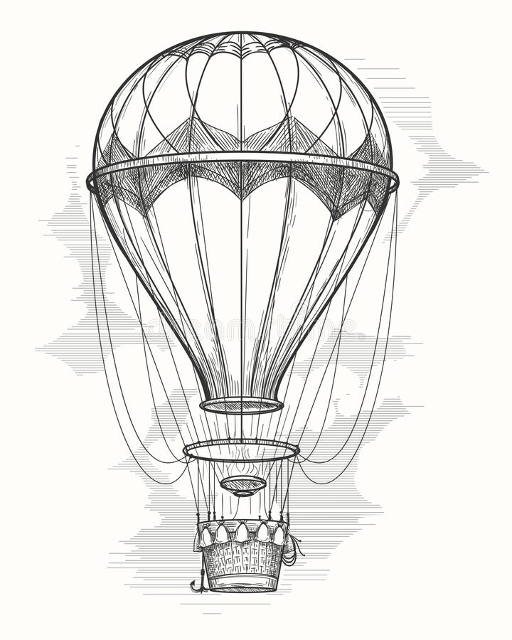 Rétro croquis chaud de ballon à air illustration libre de droits
