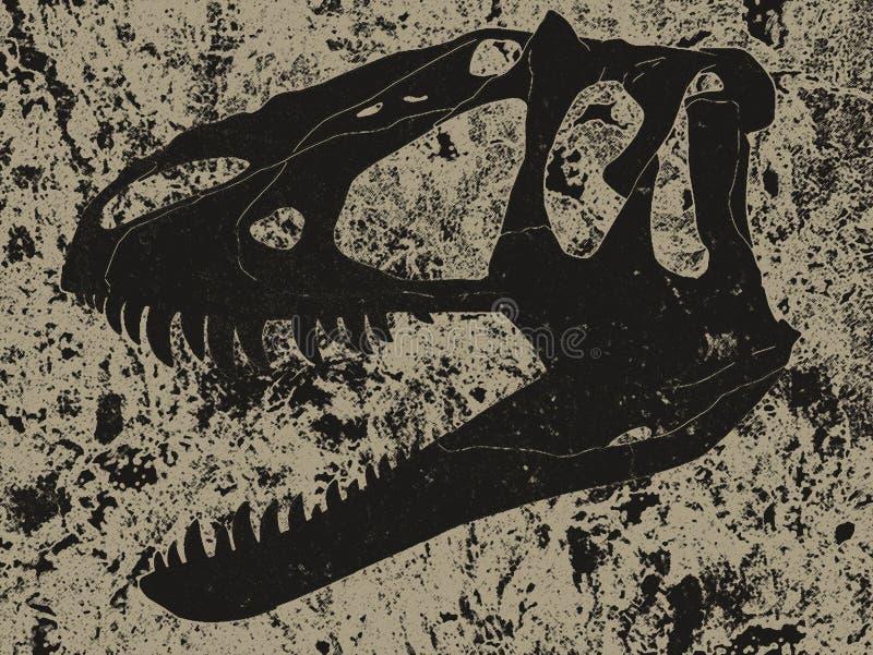 Rétro croquis noir de section de crâne de tyrannosaure dans la roche photos stock