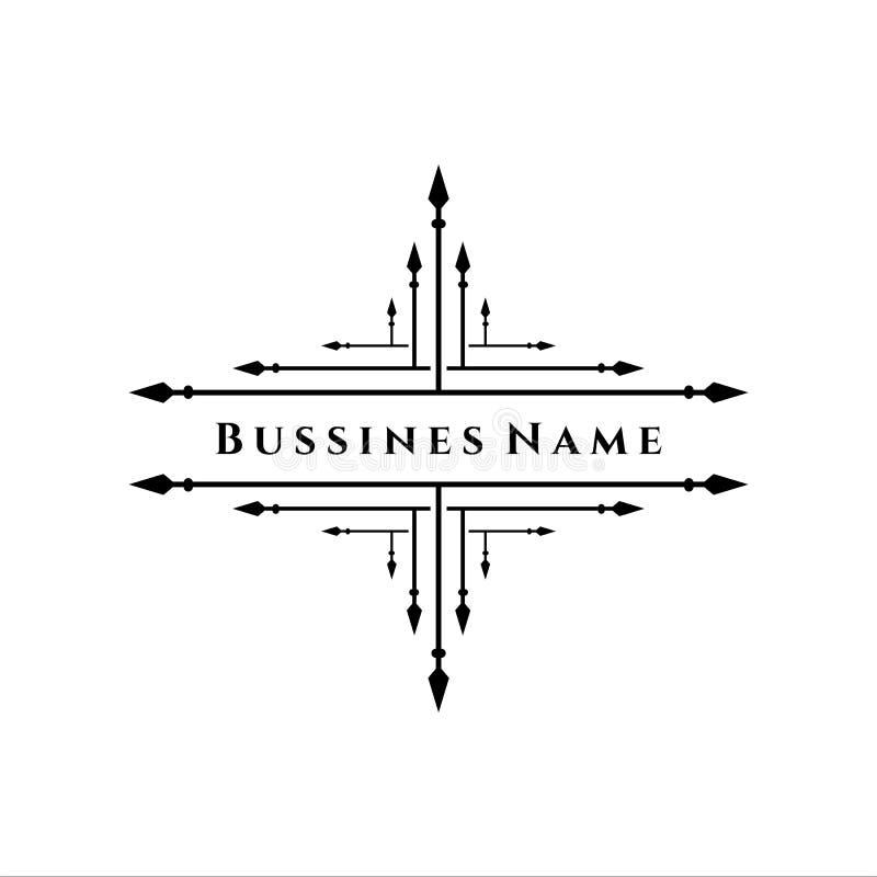 Rétro décor élégant de flourish Rétros insignes ou Logotypes de vintage Dirigez les éléments de conception, signes d'affaires, lo illustration stock