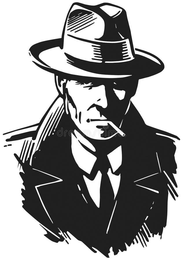 Rétro détective illustration de vecteur