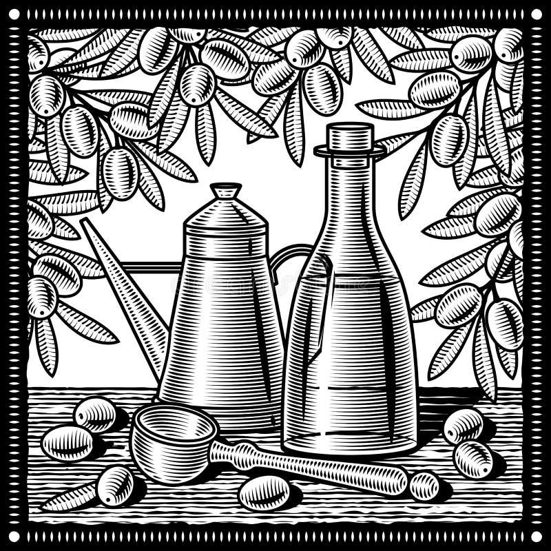 Rétro d'olive d'huile toujours durée noire et blanche illustration libre de droits