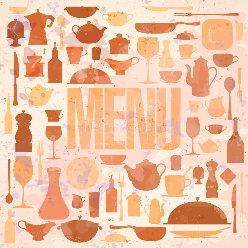 Rétro design de carte de carte de restaurant. illustration stock