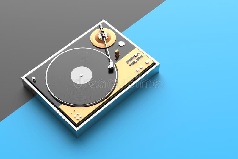 Rétro disque - joueur de vinyle d'isolement sur le fond coloré 3d IL photo stock