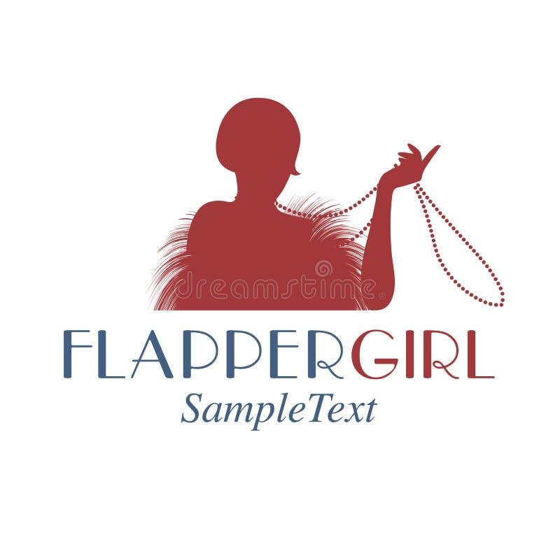 Rétro emblème de style représentant une fille d'aileron jouant avec son collier illustration libre de droits