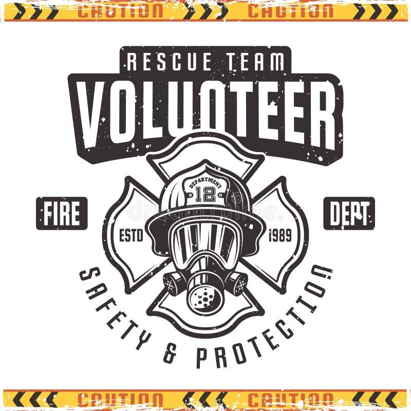 Rétro emblème de vecteur volontaire pour le corps de sapeurs-pompiers illustration de vecteur