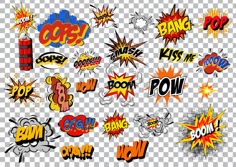 Rétro ensemble comique d'art de bruit d'explosion de bande dessinée Vecteur illustration libre de droits