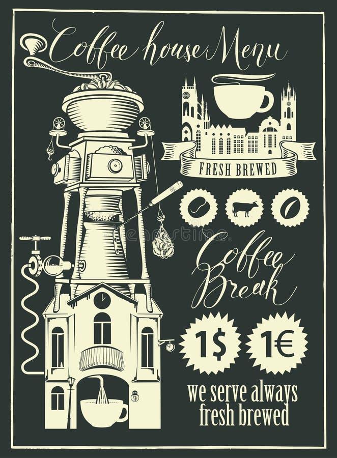 Rétro ensemble d'éléments de conception pour un café illustration stock