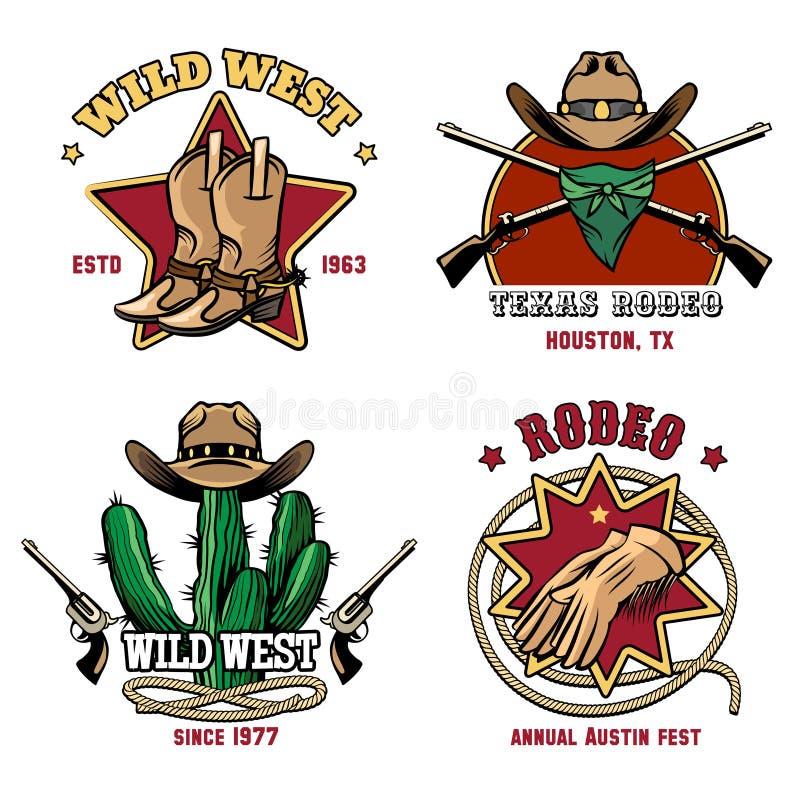 Rétro ensemble d'emblème de rodéo de cowboy illustration de vecteur