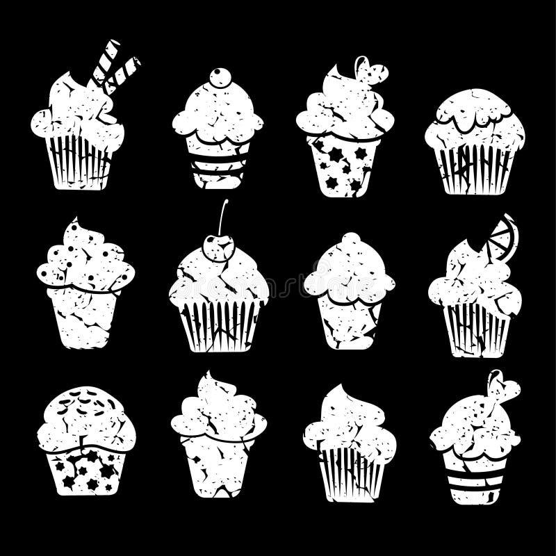 Rétro ensemble d'icônes de petits gâteaux et de petits pains, craie illustration stock