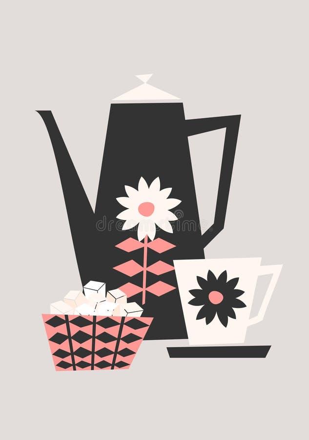 Rétro ensemble de café illustration stock