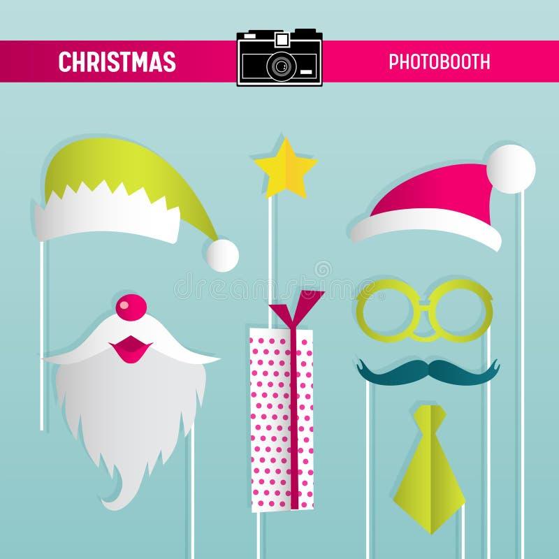 Rétro ensemble de partie de Noël de verres, chapeaux, moustaches, barbe, masques pour des appui verticaux de photobooth illustration stock
