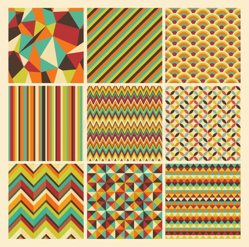 Rétro ensemble géométrique sans couture de fond de hippie. illustration de vecteur