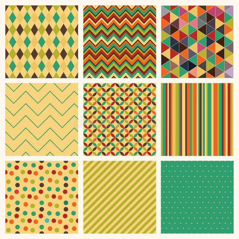 Rétro ensemble géométrique sans couture de fond de hippie. illustration libre de droits