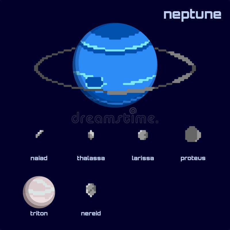 Rétro ensemble minimalistic de Neptune et de lunes illustration libre de droits