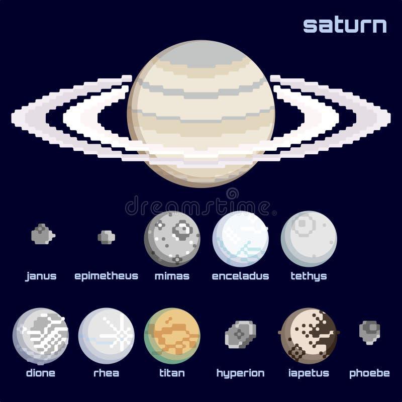 Rétro ensemble minimalistic de Saturn et de lunes illustration de vecteur