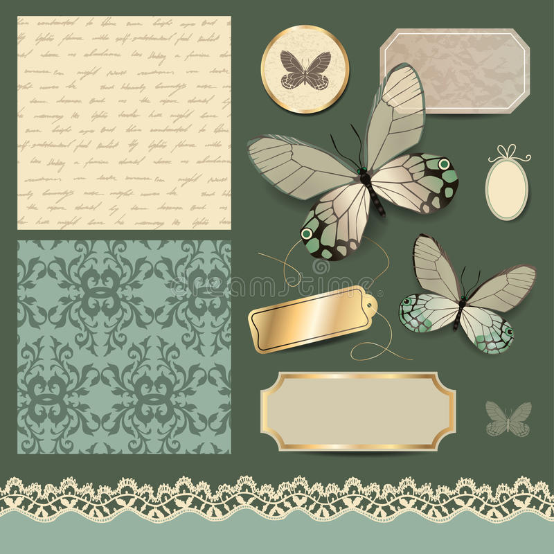 Rétro ensemble scrapbooking illustration stock