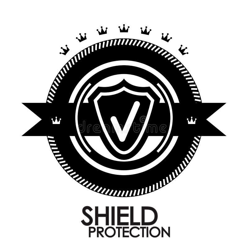 Rétro estampille noire de protection d'étiquette de cru illustration de vecteur