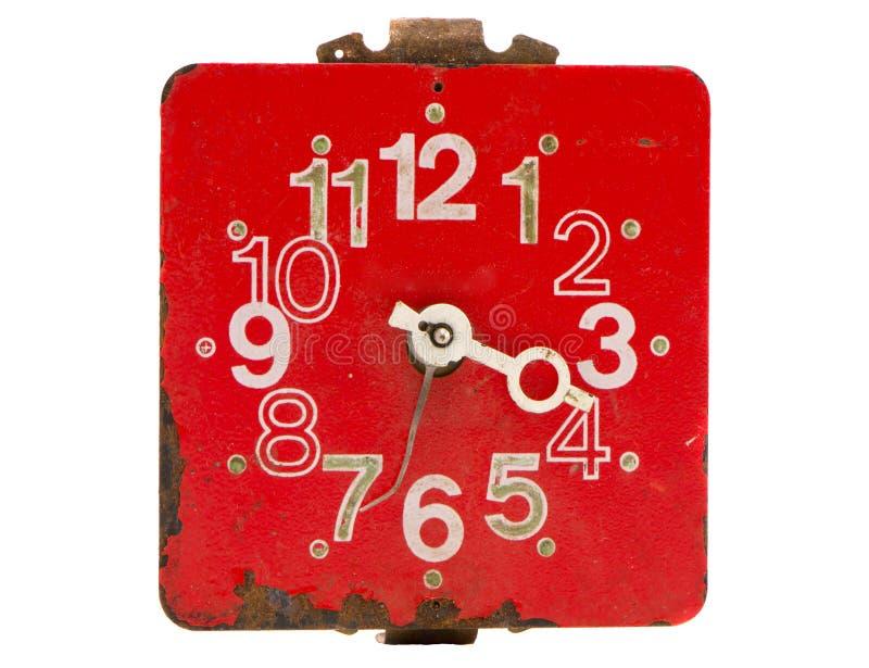 Rétro et rouge cadran d'horloge d'isolement images libres de droits