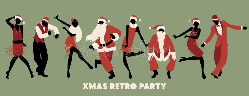 Rétro fête de Noël Groupe de quatre hommes et de quatre filles dansant Charleston illustration stock