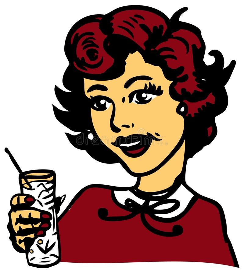 Rétro femme avec le cocktail illustration libre de droits