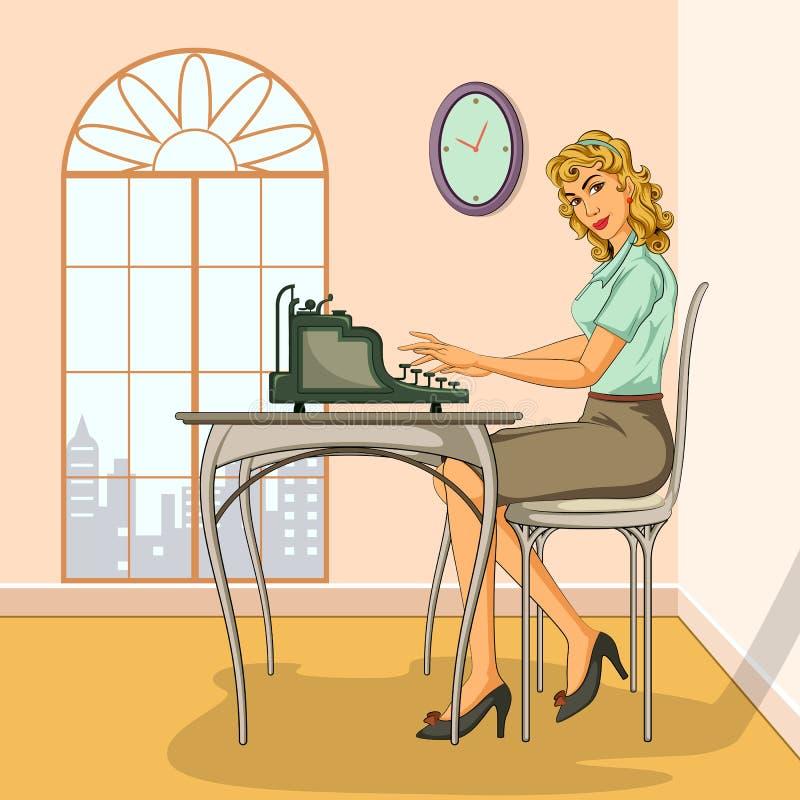 Rétro femme dactylographiant sur la machine à écrire illustration stock