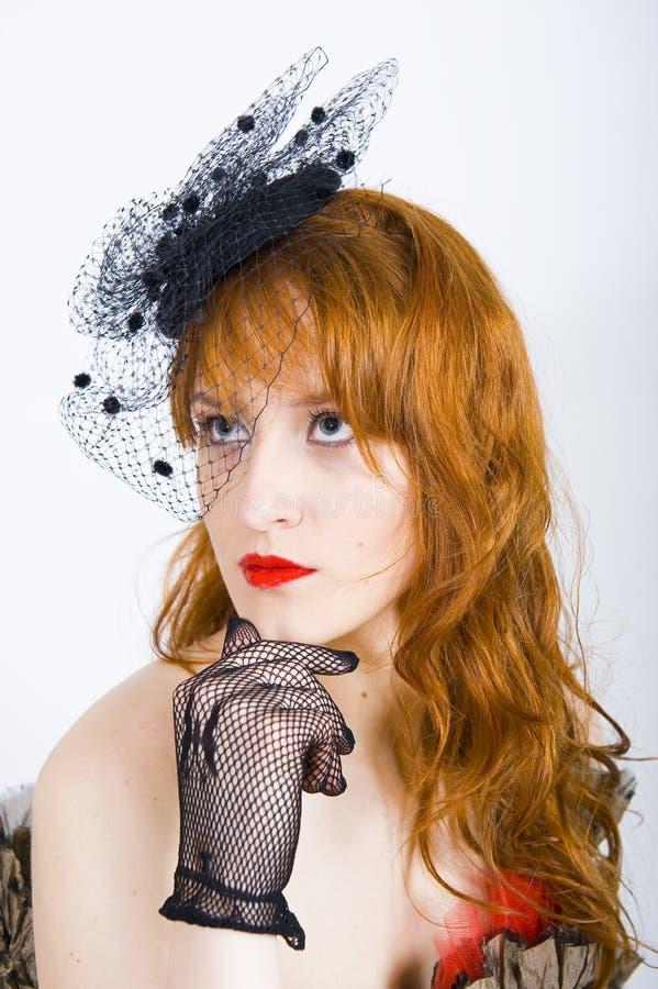 Rétro femme dans le chapeau et les gants de cru images libres de droits