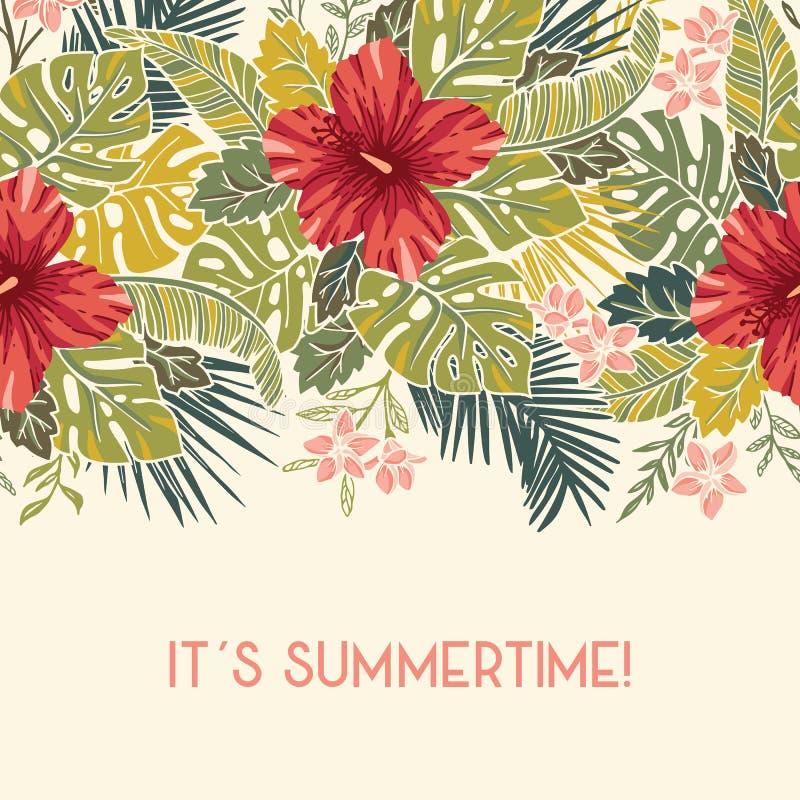 Rétro feuillage exotique tropical coloré audacieux, frontière sans couture de vecteur horizontal floral de ketmie Carte de Gretin illustration libre de droits