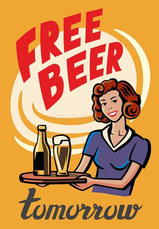 Rétro fille de bière illustration libre de droits