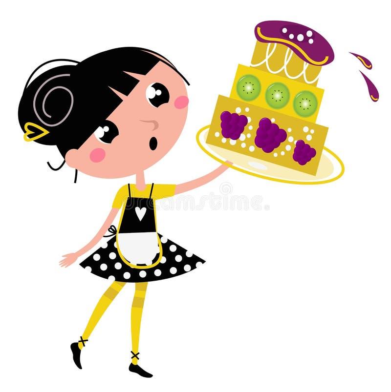 Rétro fille de cuisine avec le grand gâteau fruité illustration de vecteur
