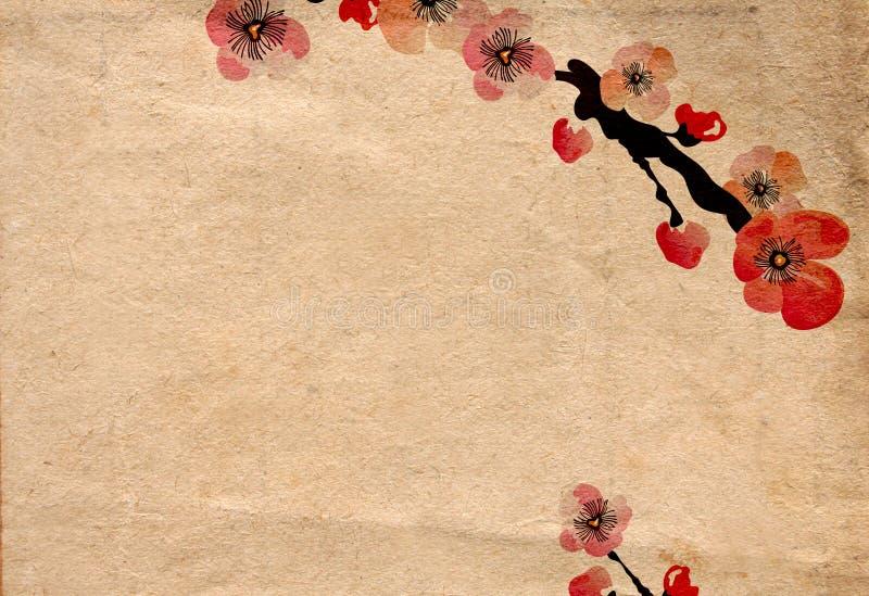 Rétro fleur de cerise illustration stock