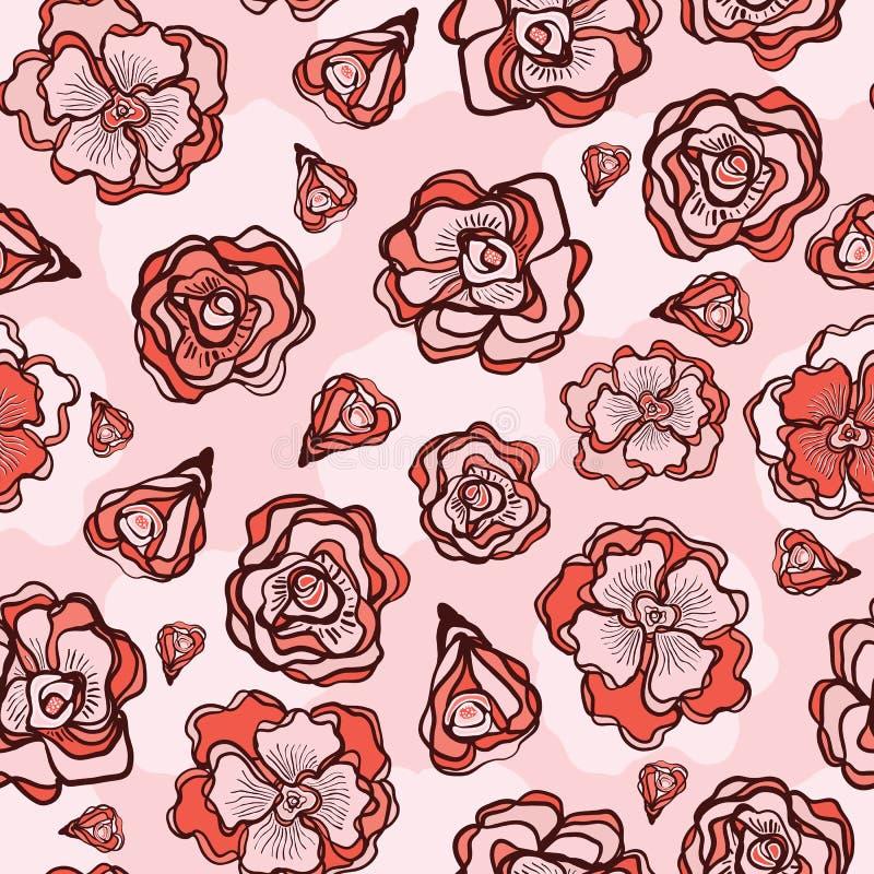 Rétro fleur Rose Buds Seamless Vector Pattern illustration libre de droits