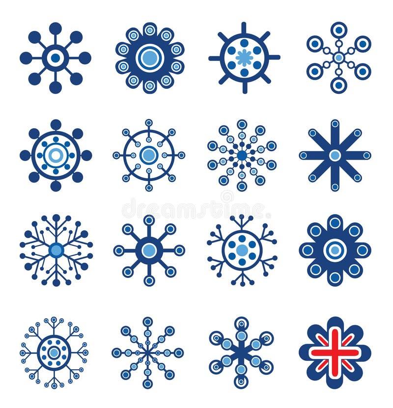 Rétro flocons de neige de type réglés illustration de vecteur