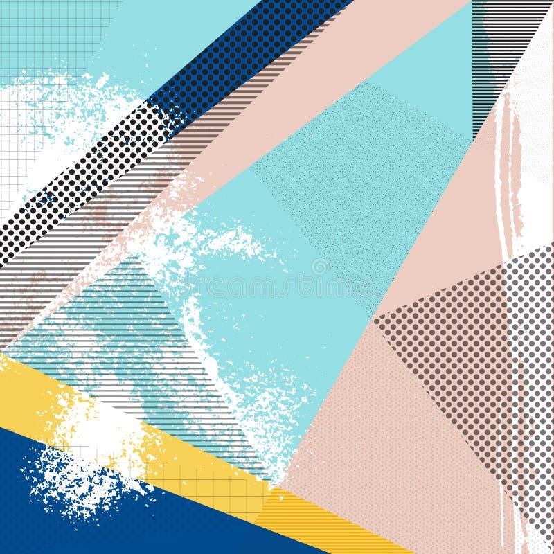 Rétro fond abstrait de conception, style de Memphis illustration de vecteur