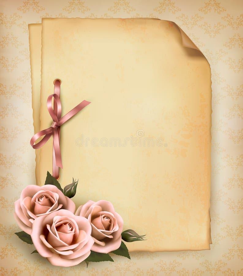Rétro fond avec la belle rose de rose illustration de vecteur