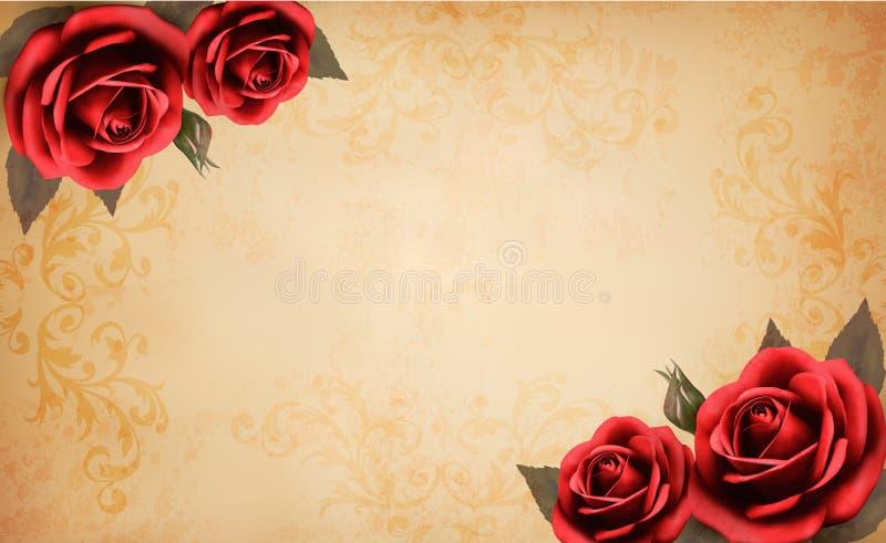 Rétro fond avec la belle rose de rouge et le vieux p illustration de vecteur