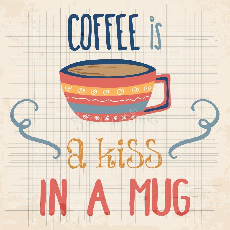 Rétro fond avec la citation de café illustration stock