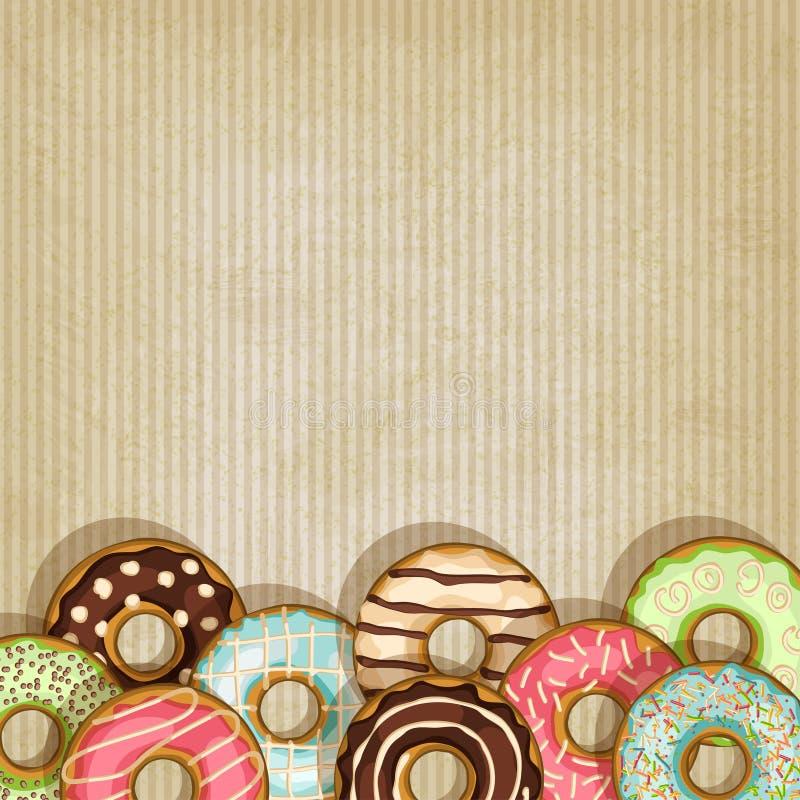 Rétro fond avec le beignet illustration stock