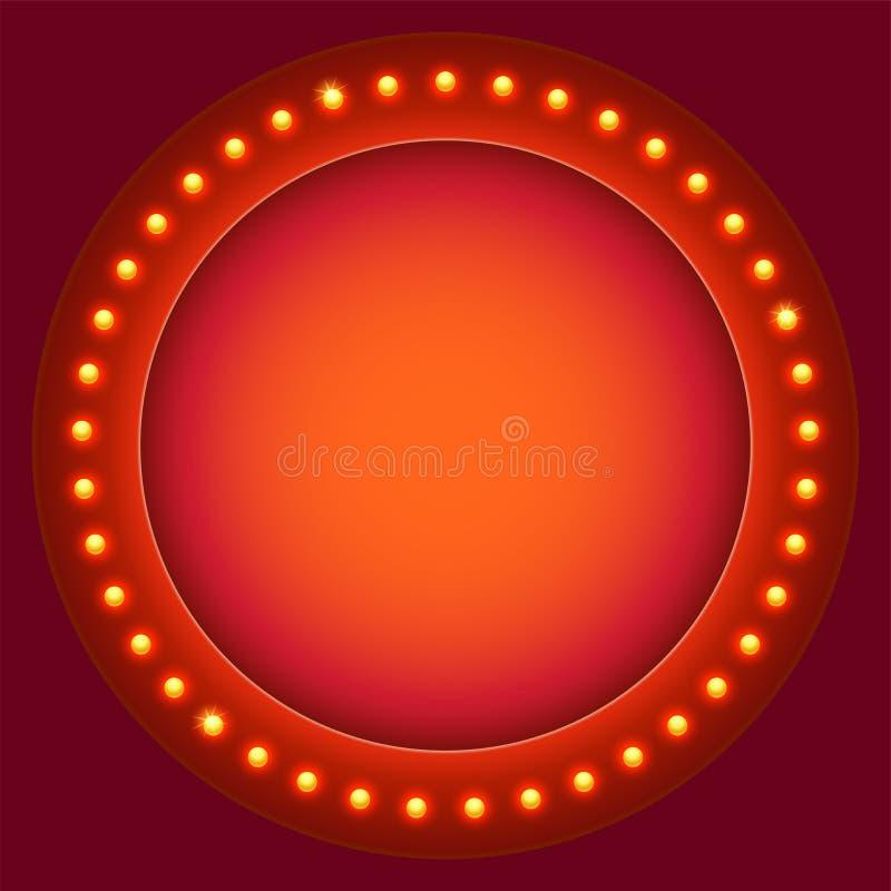 Rétro fond circulaire avec les ampoules Ampoules sur la rétro bannière avec l'espace pour le texte Lumières rougeoyantes sur le c illustration libre de droits