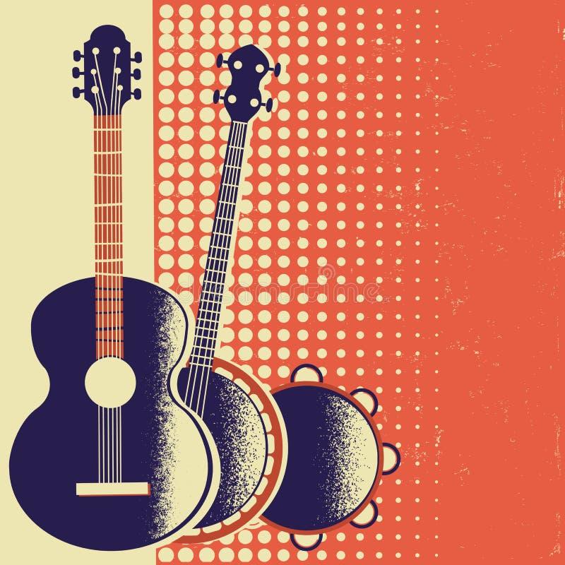 Rétro fond d'affiche de musique avec des instruments de musique sur la vieille PA illustration libre de droits