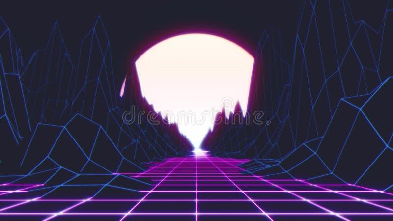 rétro fond de l'espace de Sun du futurisme 80s illustration 3D illustration de vecteur