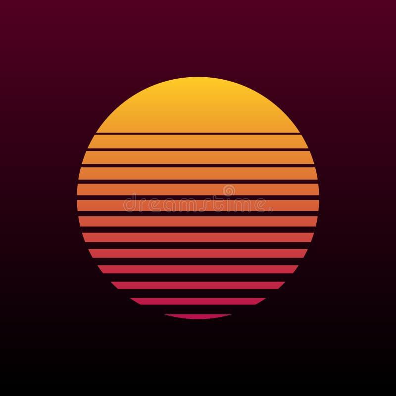 Rétro fond du résumé 80s avec l'illustration du soleil illustration libre de droits