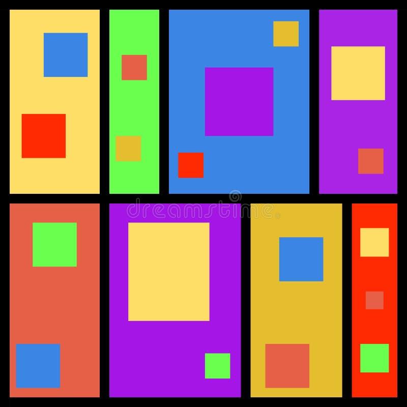 Rétro fond géométrique d'abrégé sur conception de vecteur de modèle de vintage avec les lignes noires et les formes colorées de p illustration stock