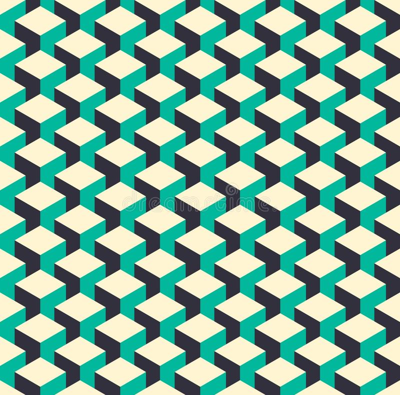 Rétro fond isométrique abstrait de modèle du cube 3d illustration de vecteur