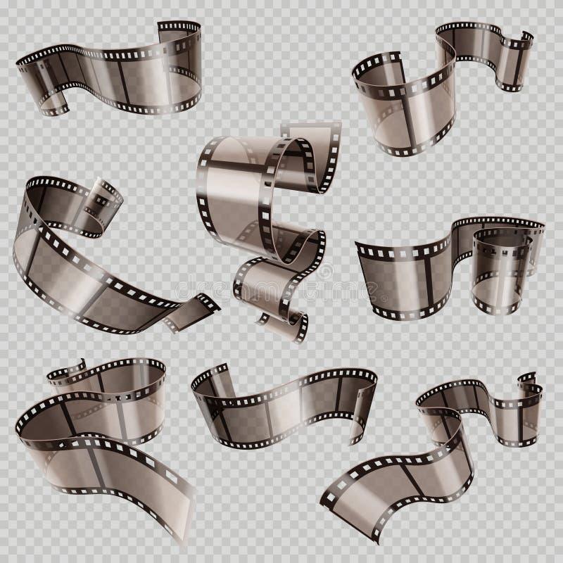 Rétro foto de 35mm et ensemble de vecteur de petit pain de pellicule cinématographique illustration libre de droits
