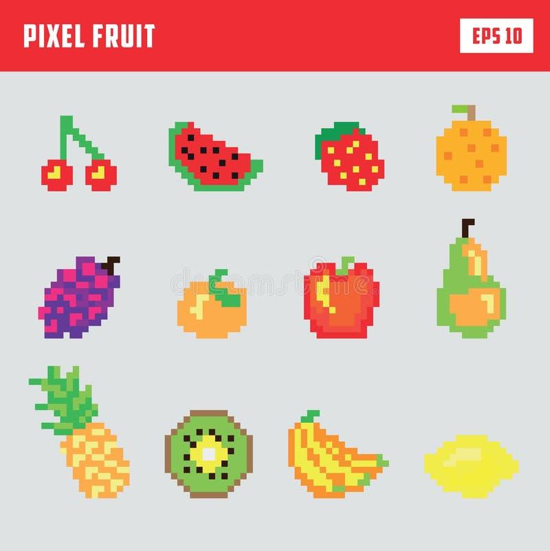 Rétro fruit de pixel, ensemble d'icône de jeu illustration libre de droits