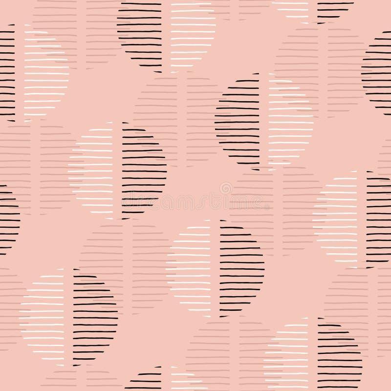 Rétro Geo exagéré Dots Vector Seamless Pattern Grand résumé moderne Dusty Pink Circles sur le fond crème illustration libre de droits