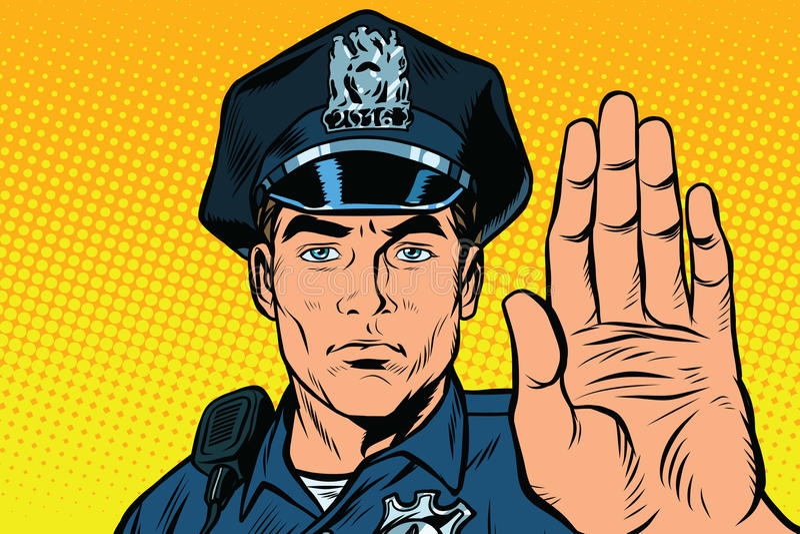 Rétro geste d'arrêt de policier illustration de vecteur